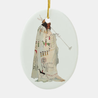 Portrait, Indian Warrior with Pipe by Karl Bodmer Ceramic Ornament