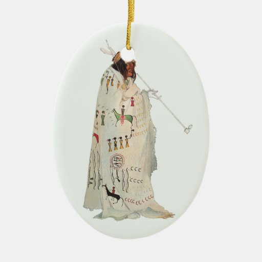 Portrait, Indian Warrior with Pipe by Karl Bodmer Double-Sided Oval Ceramic Christmas Ornament