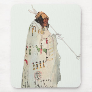 Portrait, Indian Warrior with Pipe by Karl Bodmer Mouse Pad