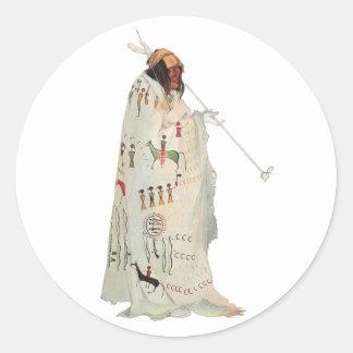 Portrait, Indian Warrior with Pipe by Karl Bodmer Sticker