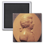 Portrait medallion of Wolfgang Amadeus Mozart 2 Inch Square Magnet