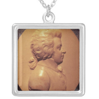 Portrait medallion of Wolfgang Amadeus Mozart Silver Plated Necklace