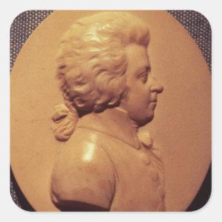 Portrait medallion of Wolfgang Amadeus Mozart Square Sticker