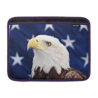 Portrait of a bald eagle with the american flag MacBook sleeve
