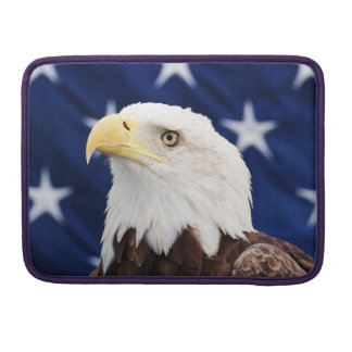 Portrait of a bald eagle with the american flag sleeve for MacBooks