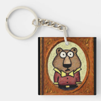 Portrait of a Bear Double-Sided Square Acrylic Keychain