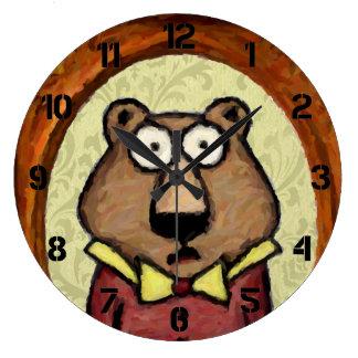 Portrait of a Bear Large Clock