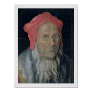 Portrait of a Bearded Man in a Red Hat, 1520 (oil Poster