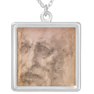 Portrait of a Bearded Man Silver Plated Necklace