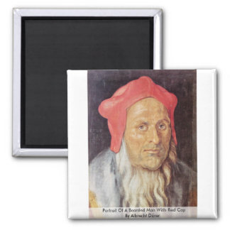 Portrait Of A Bearded Man With Red Cap Fridge Magnet