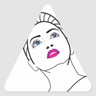 Portrait of a beautiful lady in pink lipstick triangle sticker