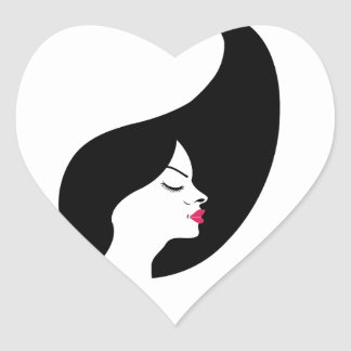 Portrait of a beautiful lady with long black hair heart sticker