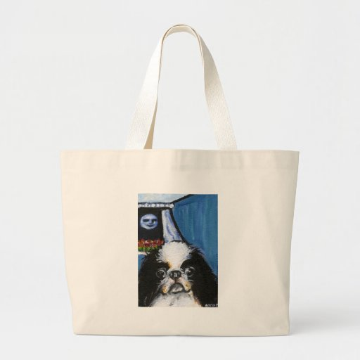 Portrait of a black Japanese chin Bags