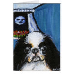 Portrait of a black Japanese chin Cards