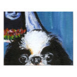 Portrait of a black Japanese chin Personalized Announcements