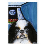 Portrait of a black Japanese chin Post Card