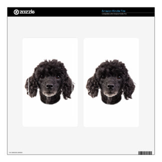 Portrait of a black poodle decal for kindle fire