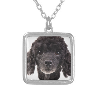 Portrait of a black poodle square pendant necklace