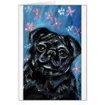 Portrait of a Black Pug Cards