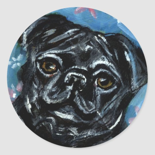 Portrait of a Black Pug Classic Round Sticker