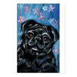 Portrait of a Black Pug Postcard