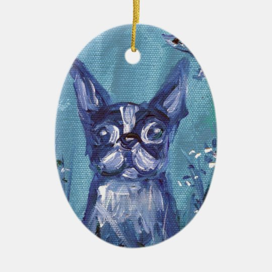 Portrait of a Boston Terrier Ceramic Ornament