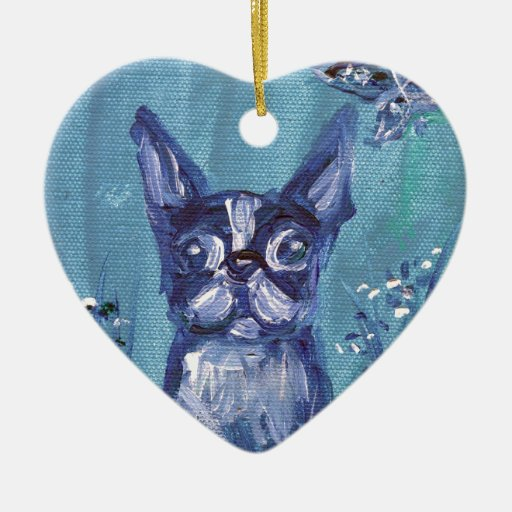 Portrait of a Boston Terrier Double-Sided Heart Ceramic Christmas Ornament