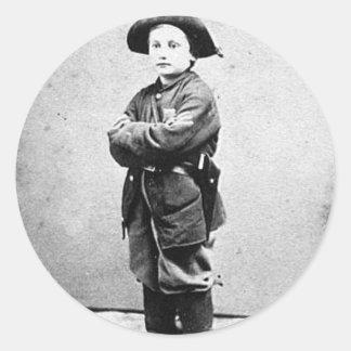 Portrait of a boy soldier c. 1860-1865. Civil War Classic Round Sticker