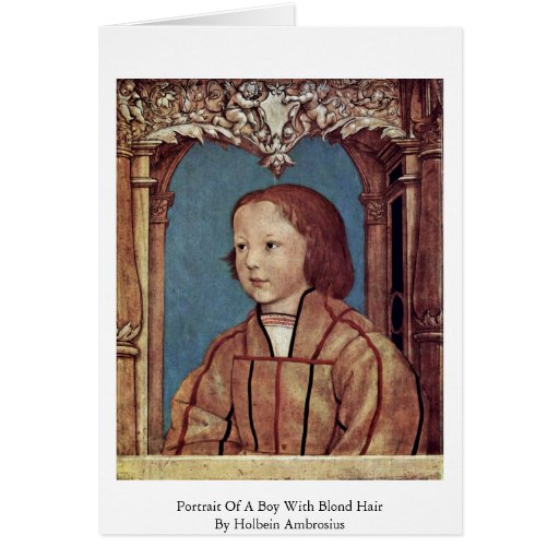 Portrait Of A Boy With Blond Hair Greeting Card