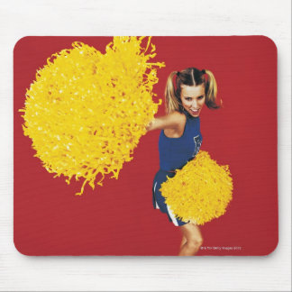 Portrait of a Cheerleader Holding Pom-poms Mouse Pad