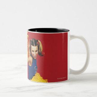 Portrait of a Cheerleader Holding Pom-poms Two-Tone Coffee Mug