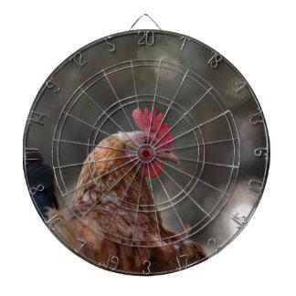Portrait of a chicken on a farm. dartboards