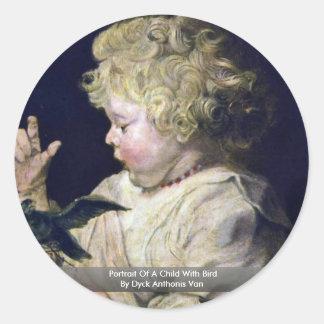 Portrait Of A Child With Bird By Dyck Anthonis Van Round Sticker
