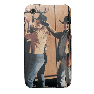 Portrait of a Cowboy and Cowgirl Arranging Reins iPhone 3 Case