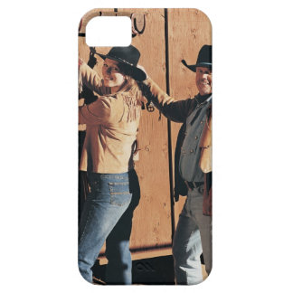 Portrait of a Cowboy and Cowgirl Arranging Reins iPhone SE/5/5s Case