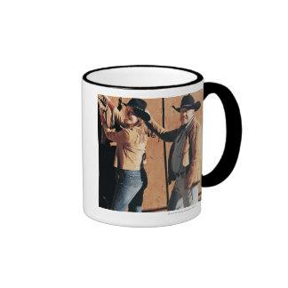 Portrait of a Cowboy and Cowgirl Arranging Reins Ringer Mug