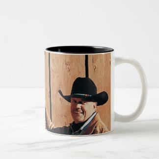 Portrait of a Cowboy and Cowgirl Arranging Reins Two-Tone Coffee Mug