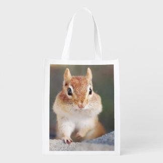 Portrait of a Cute Chipmunk Grocery Bag