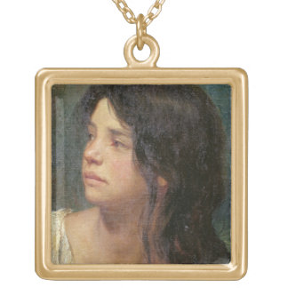 Portrait of a dark-haired girl, 1867 gold plated necklace