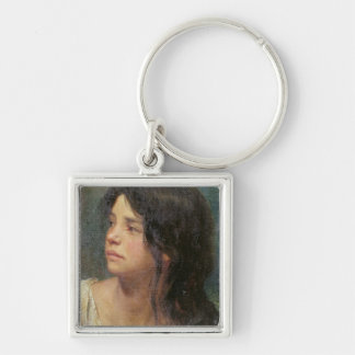 Portrait of a dark-haired girl, 1867 keychain