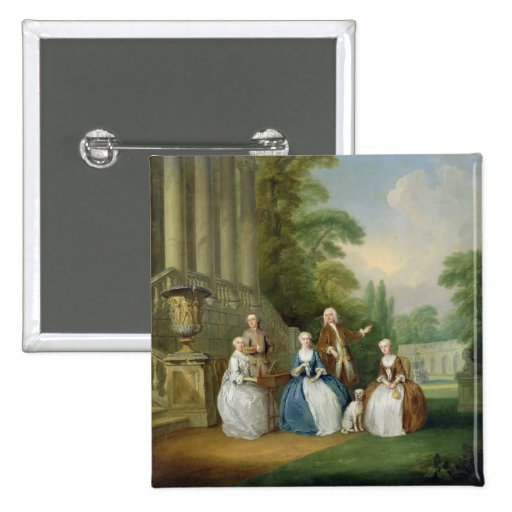 Portrait of a Family, 1740 (oil on canvas) 2 Inch Square Button