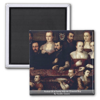Portrait Of A Family With An Oriental Rug Refrigerator Magnets