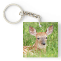Portrait of a Fawn (white-tailed deer) Keychain