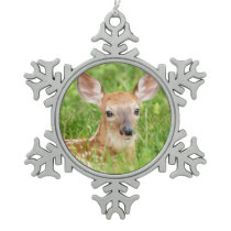 Portrait of a Fawn (white-tailed deer) Snowflake Pewter Christmas Ornament