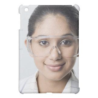 Portrait of a female lab technician wearing a iPad mini case