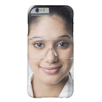 Portrait of a female lab technician wearing a iPhone 6 case