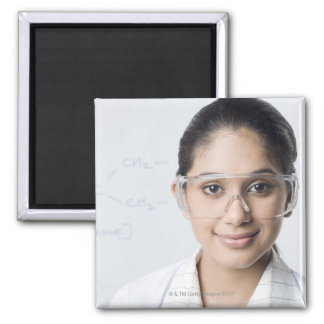 Portrait of a female lab technician wearing a magnet