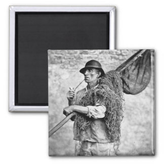 Portrait of a Fisherman Carrying his Nets (b/w pho 2 Inch Square Magnet
