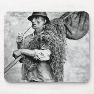 Portrait of a Fisherman Carrying his Nets (b/w pho Mouse Pad