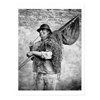 Portrait of a Fisherman Carrying his Nets (b/w pho Postcard